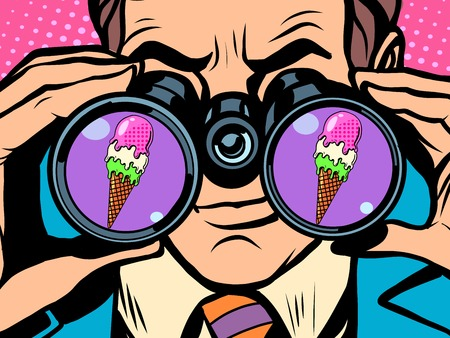 Man wants ice cream pop art retro style. Hunger and food. Man looking through binoculars. Heat and coolness. Sweets and desserts Vettoriali