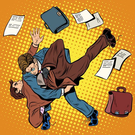 sambo: Fight men businessmen pop art retro style. Combat Sambo. Business competition