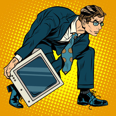 throw up: Computer tech weapon men pop art retro style. A man picks up a computer to throw it. Programmer and technology