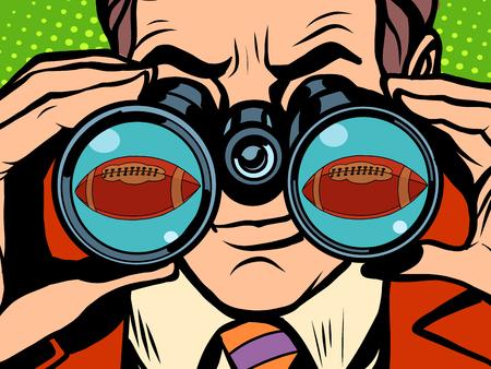 cartoon businessman: The man is watching American football pop art retro style. Hunger and food. Man looking through binoculars. A sports ball. Sporting goods Illustration