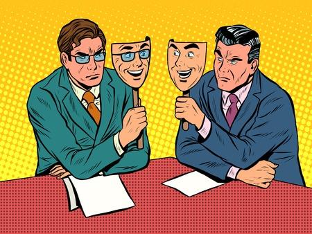 ビジネス対話は、腹黒い通信ポップアート レトロなスタイルです。派手な喜び。隠された感情。顔とマスク。喜びと嫌悪感