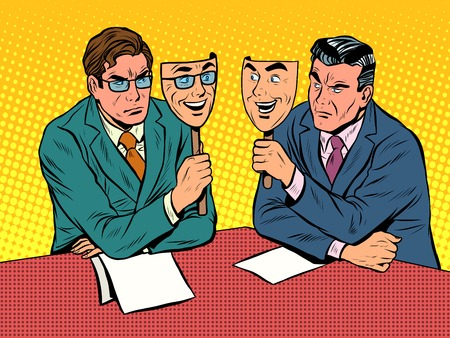 Business dialogue is disingenuous communication pop art retro style. Ostentatious joy. The hidden emotions. The face and the mask. joy and disgust