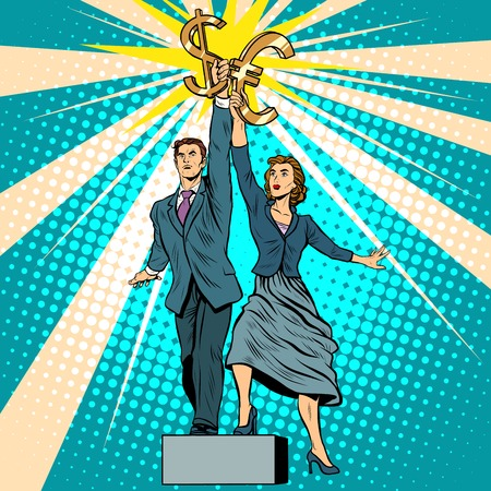 parody: Businessman and businesswoman with dollar Euro money pop art retro style. A parody of Soviet sculpture worker and kolkhoz woman. Socialist realism. The business concept of financial success
