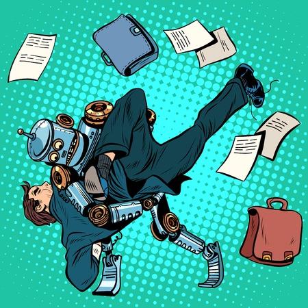 pelea: La lucha contra robot y humano, la inteligencia artificial, las nuevas tecnologías hacen estallar el estilo retro del art. el concepto de negocio de los avances tecnológicos y el lugar del hombre en el nuevo mundo Vectores