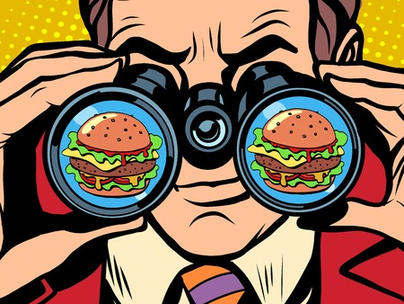 A hungry man wants a Burger pop art retro style. Hunger and food. Man looking through binoculars