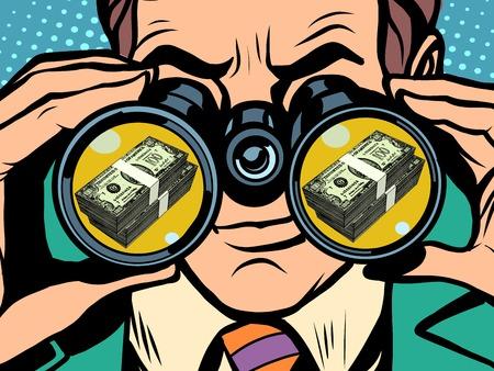 L'homme et l'argent pop art style rétro. La faim et la nourriture. Homme regardant à travers des jumelles. Affaires et des finances