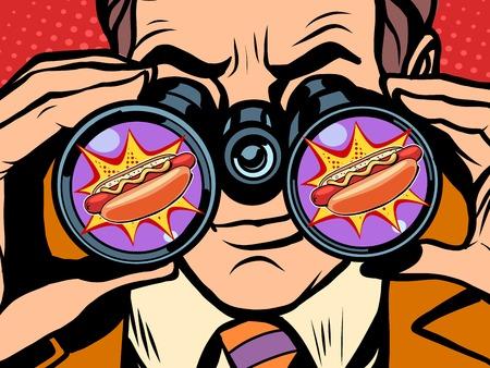 飢えた男は、ホットドッグのポップアートのレトロなスタイルを望んでいます。飢餓と食糧。双眼鏡でみる男。ファーストフードやレストラン  イラスト・ベクター素材