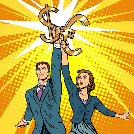 socialist: Businessman and businesswoman with dollar Euro money pop art retro style. A parody of Soviet sculpture worker and kolkhoz woman. Socialist realism. The business concept of financial success
