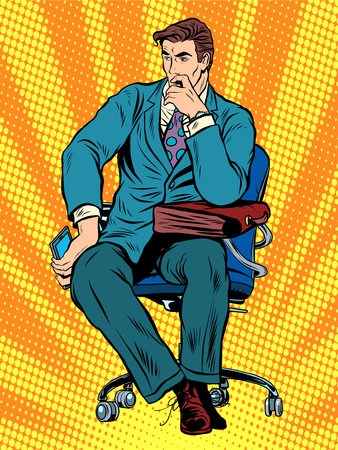 art vintage: thoughtful businessman sitting in chair pop art retro style. Businessman with bag. To think
