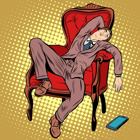 people sleeping: Businessman resting and sleeping in the chair pop art retro style. The boss tired. Hard work Illustration