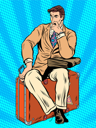 airport cartoon: Man traveler sitting on a suitcase pop art retro style. Travel and tourism. business trip