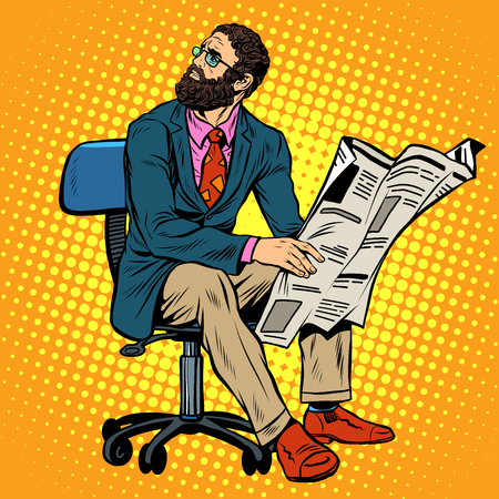 reading newspaper: Bearded businessman reading a newspaper pop art retro style. News and press. Work in the office. Newspaper office