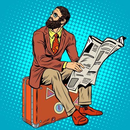 Bearded hipster reiziger het lezen van een krant pop art retro stijl. Retro hipster zit op een koffer. bebaarde zakenman