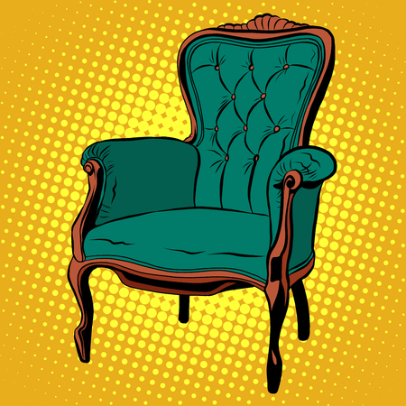 armchair: Green soft chair furniture armchair vector pop art retro style. retro classic chair. Illustration home chair Illustration