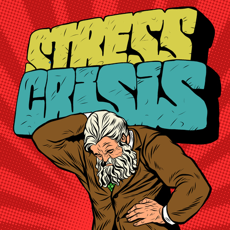 old style retro: Antique Atlas stress crisis strong man businessman pop art retro style. Greek image in the business. Mighty old man. Boss the head of the company Illustration