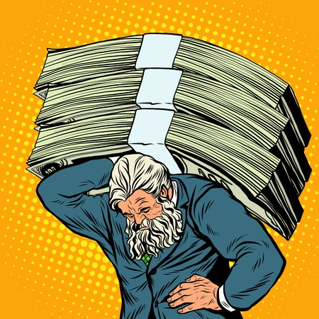 mighty: Antique Atlas heavy weight money strong man businessman pop art retro style. Greek image in the business. Mighty old man. Boss the head of the company Illustration
