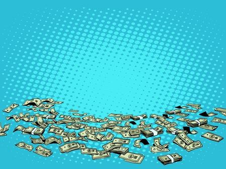 money bills: Money dollars vector background pop art retro style. Packs of dollars scattered on the floor. Wealth