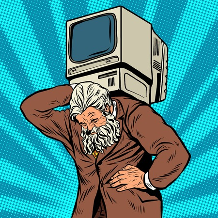 old style: Antique Atlas strong man computer businessman pop art retro style. Greek image in the business. Mighty old man. Boss the head of the company. Computer business, programming