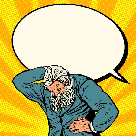 Antique Atlas strong man businessman comic bubble pop art retro style. Greek image in the business. Mighty old man. Boss the head of the company Ilustração