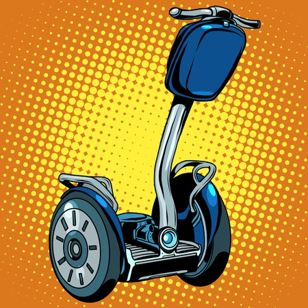 turismo ecologico: Abstract electric scooter with flashlight segway pop art retro style. Vector ecological tourism electric vehicles