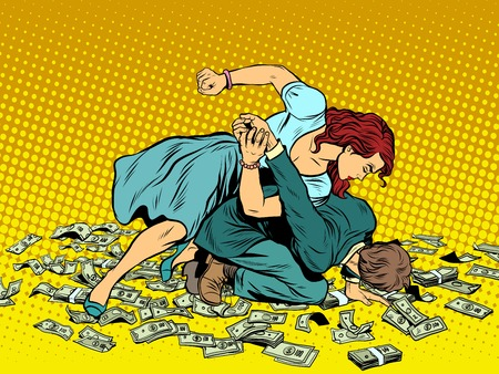 Woman beats man in fight for the money pop art retro style. Woman hits a man. Self defence women. Competition.