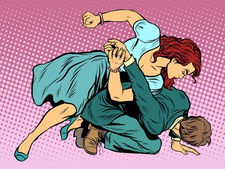 Woman beats man in fight pop art retro style. Woman hits a man. Self defence women. Competition.