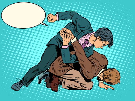 classic art: Men businessmen fighting pop art retro style. The classic struggle image of wrestling in the business today. Illustration