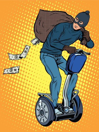 burglar man: Tech stealing money pop art retro style. The thief leaves the bag of money in the electric chair.Cyber fraud. Crime