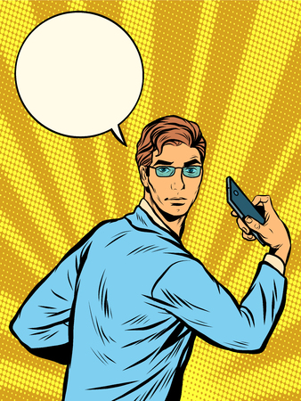 men cartoon: businessman Narcissus retro pop art pop art retro style. The man on the phone. Ancient Greek God