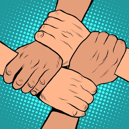 segregation: White black solidarity handshake stop racism pop art retro style. The policy of tolerance. Friendship between peoples. Day against racial segregation and discrimination