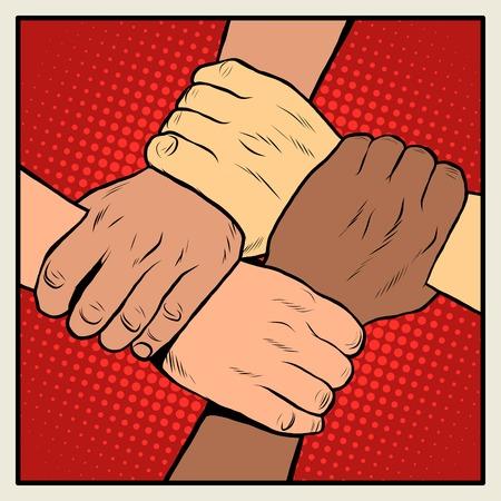 다른 국적과 인종 핸드 셰이크 사람들 팝 아트 복고 스타일. 파시즘을 중지하고 인종 차별과 차별을 중단하십시오. 다른 국적의 사람들의 연대.