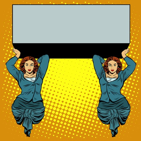 strong women: Businesswoman holding the caryatids balcony or a billboard pop art retro style. Ancient Greek myth. Vector illustration of strong women