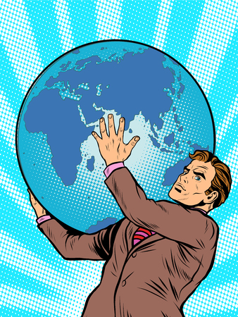 comic book character: Businessman the Titan Atlas holds the Earth on his shoulders pop art retro style. Images of ancient myths in business. The power of the planet. caring for the earth. Earth Day Illustration