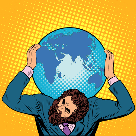 hercules: Atlas businessman holds the Earth on his shoulders pop art retro style. International Earth day. caring for the planet. ecology. responsible business