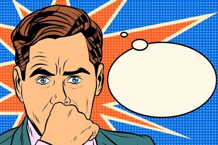 pensador: hombre de negocios hombre pensador estilo retro pop art. el concepto de idea de negocio. pensamiento del vector