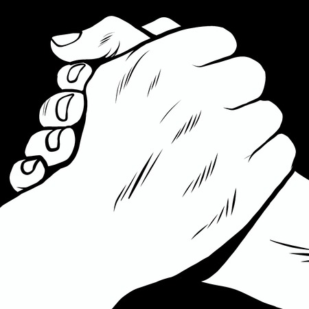 solidaridad: El apretón de manos de manos solidarias estilo retro pop art. Pulso