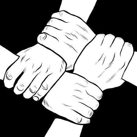 solidaridad: manos en blanco y negro estilo amistad solidaria del arte pop retro Foto de archivo