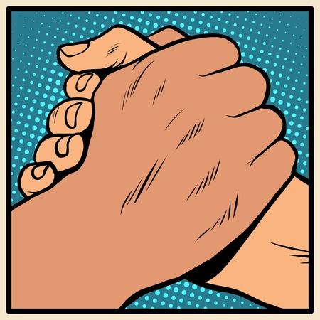 Estilo blanco negro solidaridad apretón de manos parada racismo arte pop retro. La política de tolerancia. Amistad entre los pueblos. Día contra la segregación racial y la discriminación Foto de archivo - 55246103
