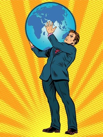 Businessman the Titan Atlas holds the Earth on his shoulders pop art retro style. Images of ancient myths in business. The power of the planet. caring for the earth. Earth Day Illustration