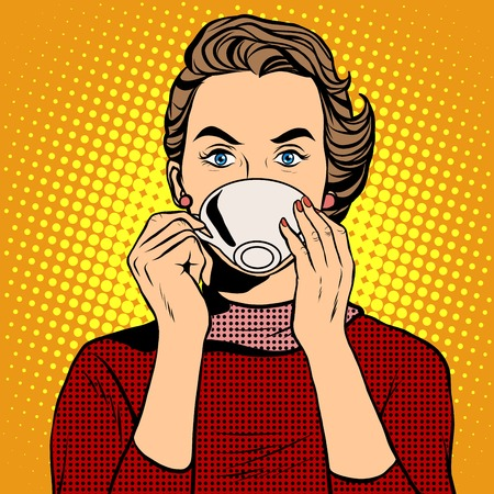 Girl drinking coffee pop art retro style. A hot beverage. Coffee or tea