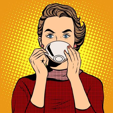 Meisje drinken koffie pop-art retro stijl. Een warme drank. Koffie of thee Stock Illustratie