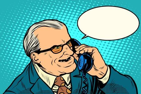 anciano: jefe enojado que habla en el estilo de arte retro del teléfono del estallido. El concepto de negocio es un hombre malo Vectores