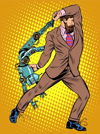 creature: Cyclops businessman against a robot pop art retro style. Human vs artificial intelligence