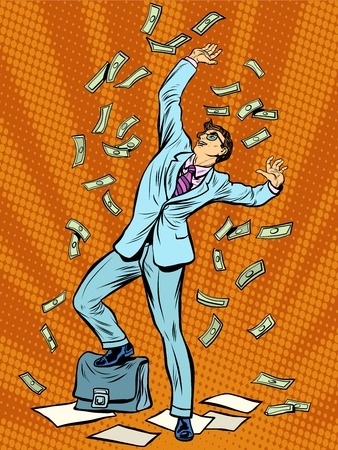 alegria: El hombre de negocios de dinero Finanzas caer estilo retro del arte pop. concepto de negocio de éxito financiero. La riqueza y la caridad Vectores