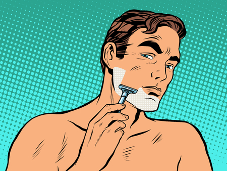 Man shaving foam pop art retro style. Personal hygiene. A man shaves in the morning stubble on his face