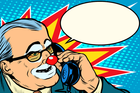 boss clown on the phone pop art retro style. Evil boss. Circus and business. Makeup Illustration
