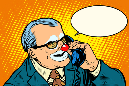 business phone: boss clown on the phone pop art retro style. Evil boss. Circus and business. Makeup Illustration