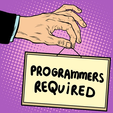 programmers: Hand holding a sign programmers required pop art retro style. Advertising signs. Vector business concept