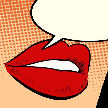 Beautiful red lips girl pop art retro style. Lips say a phrase. The comic bubble for text