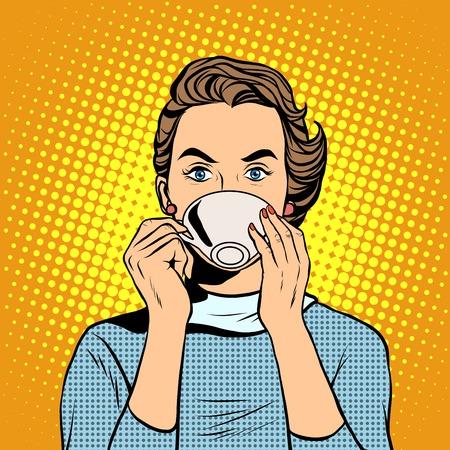 차 또는 커피 팝 아트 복고 스타일의 컵을 가진 여자입니다. 뜨거운 음료. 아침 식사 비즈니스 여자 일러스트